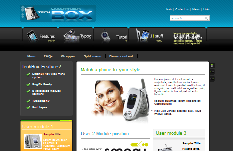 BT TechBox шаблон для Joomla 1.5