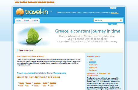 BT Travel In шаблон для Joomla 1.5