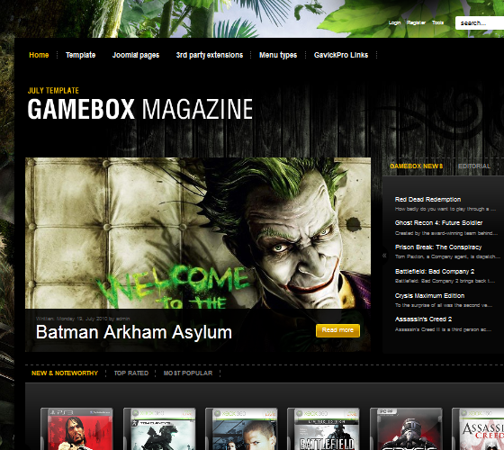 Шаблон GK Gamebox для Joomla 1.7