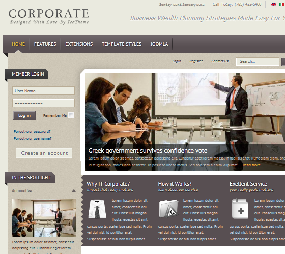 IT Corporate - шаблон для Joomla 1.7 от IceThemesIT Corporate - шаблон для Joomla 1.7 от IceThemes