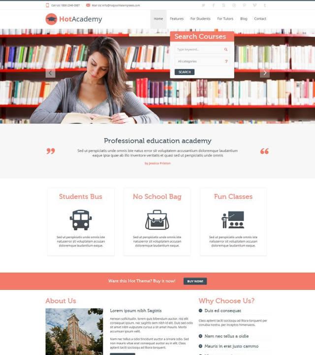 Hot Academy - Шаблон образовательной тематики на Joomla