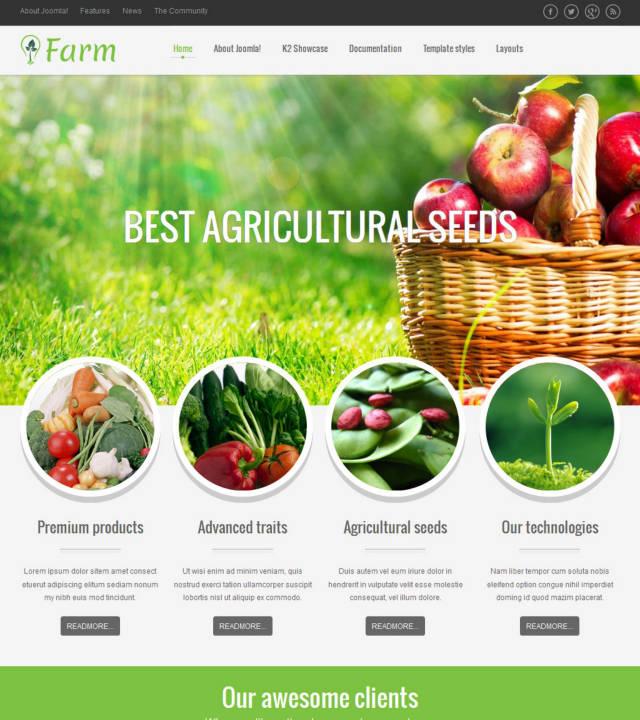 VT Farm -Шаблон аграрной тематики на Joomla