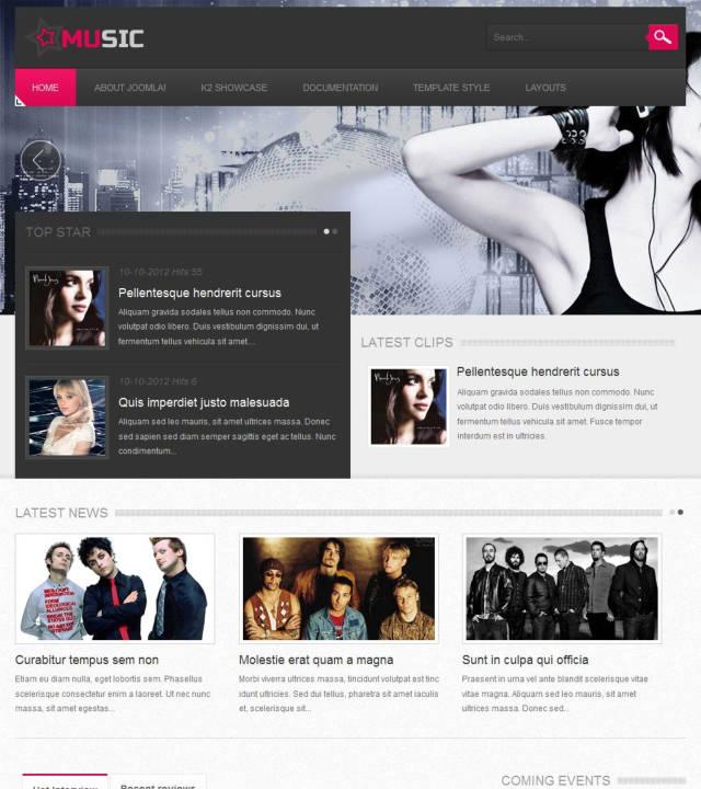 VT Music - Музыкальный шаблон на Joomla