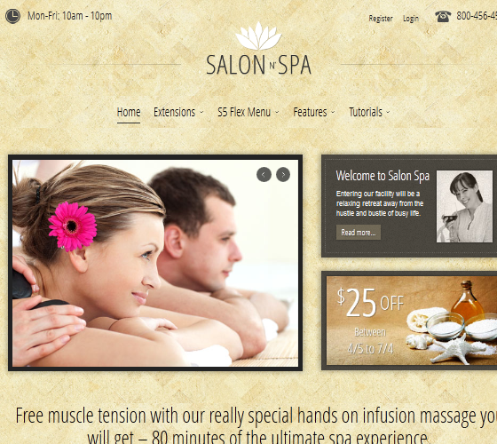 S5 Salon n Spa - шаблон для Joomla 2.5