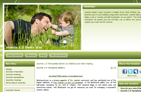Siteground Green Day шаблон для Joomla 1.5