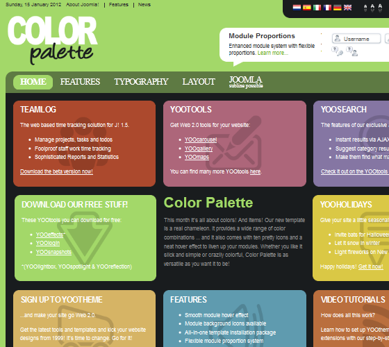 Yoo Color Palette шаблон для Joomla 1.5.