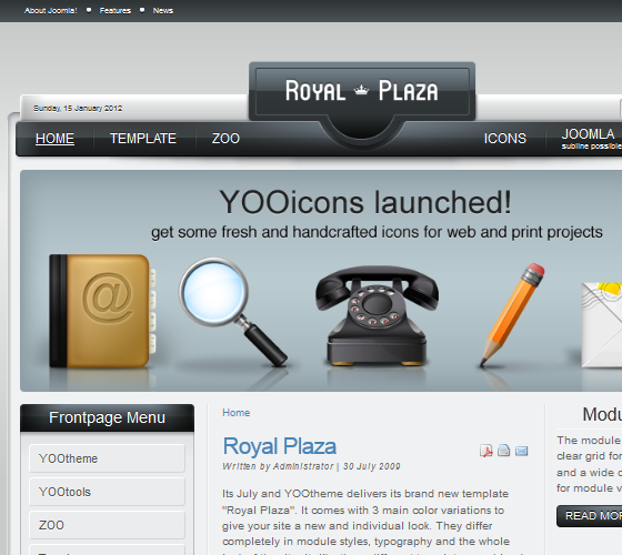 Yoo Royal Plaza шаблон для Joomla 1.5 и 1.6