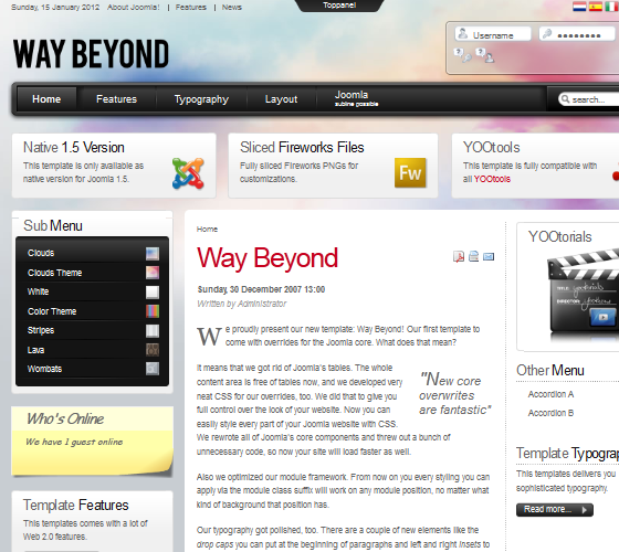 Yoo Way Beyond шаблон для Joomla 1.5